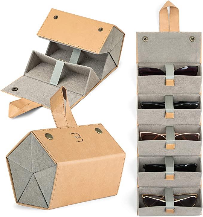 Gift Guide Female Traveler Brown Portable Sunglass Holder